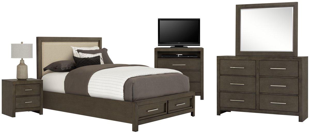 Omaha Gray Uph Platform Storage Bedroom Package