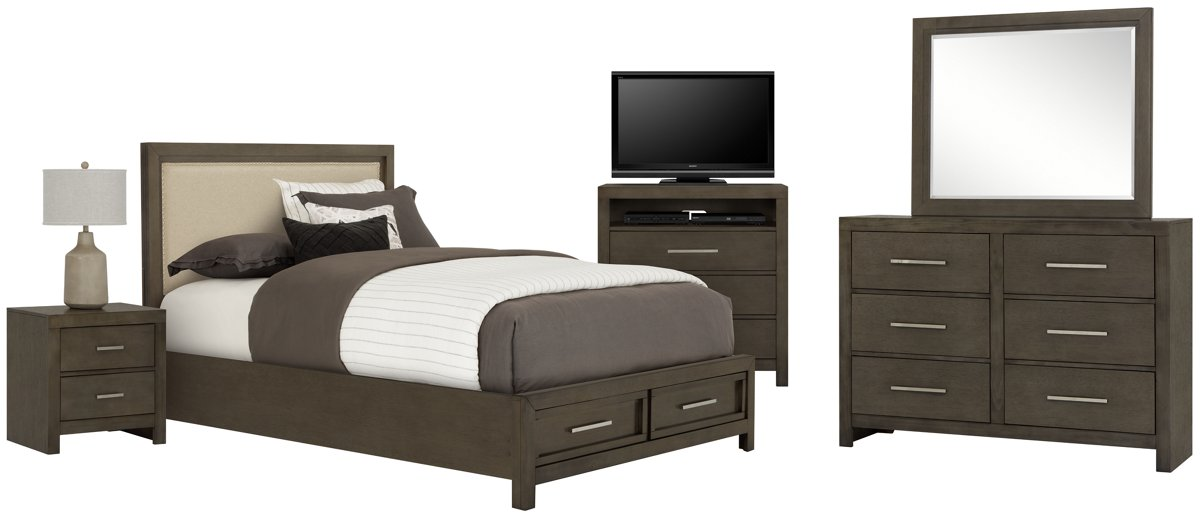 Bedroom Furniture Omaha city furniture: omaha gray upholstered panel bedroom package
