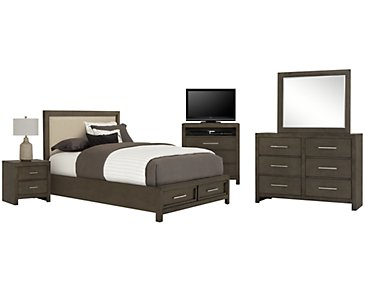 Omaha Gray Upholstered Platform Storage Bedroom Package