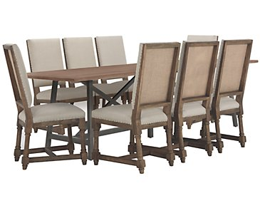 Camilla Light Tone Rectangular Table & 4 Upholstered Chairs