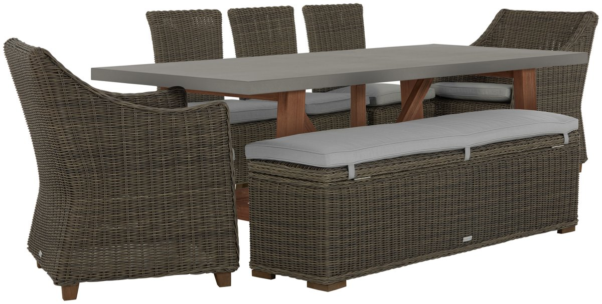 Canyon Concrete Gray Rectangular Table & Mixed Chairs