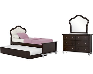 Emily Dark Tone Upholstered Panel Trundle Bedroom