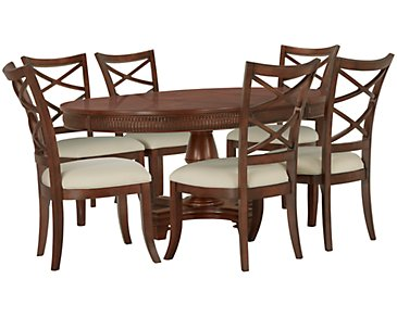 Antigua Mid Tone Round Table & 4 Wood Chairs