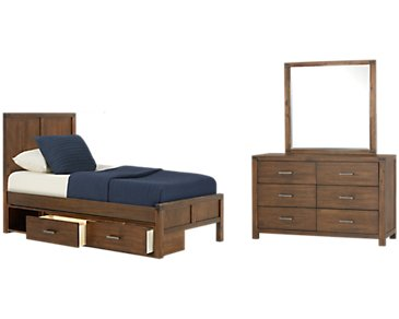 Jake Dark Tone Panel Storage Bedroom