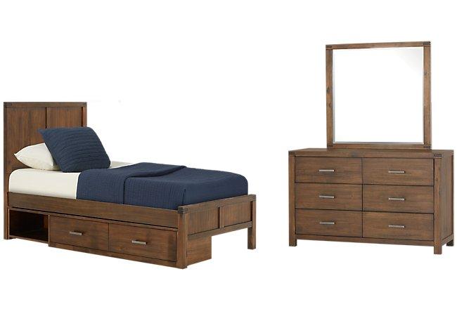 Jake Dark Tone Wood Panel Storage Bedroom