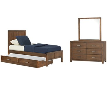 Jake Dark Tone Panel Trundle Bedroom