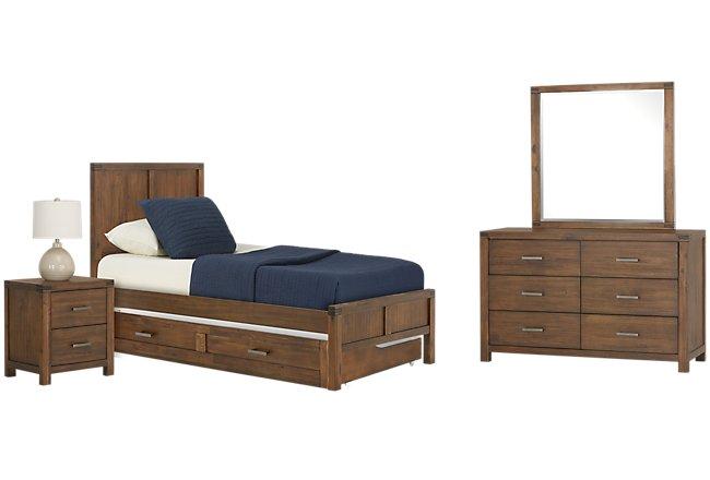 Jake Dark Tone Wood Panel Trundle Bedroom