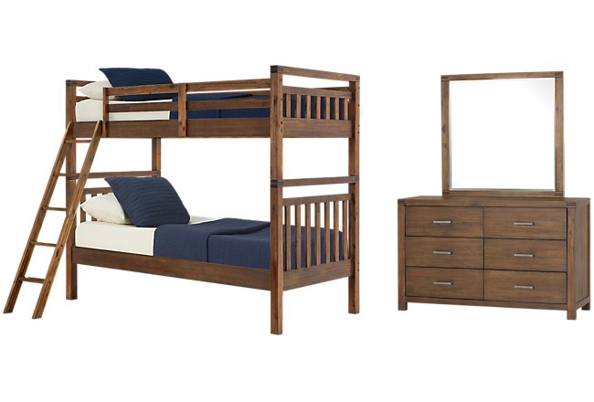 Jake Dark Tone Wood Bunk Bed Bedroom
