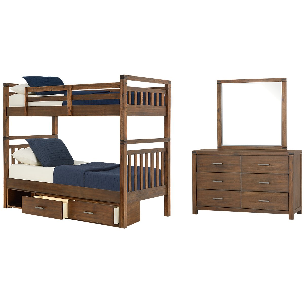 Jake Dark Tone Wood Bunk Bed Storage Bedroom