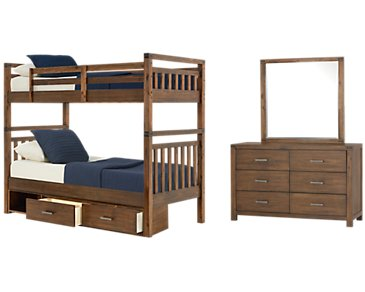 Jake Dark Tone Bunk Bed Storage Bedroom