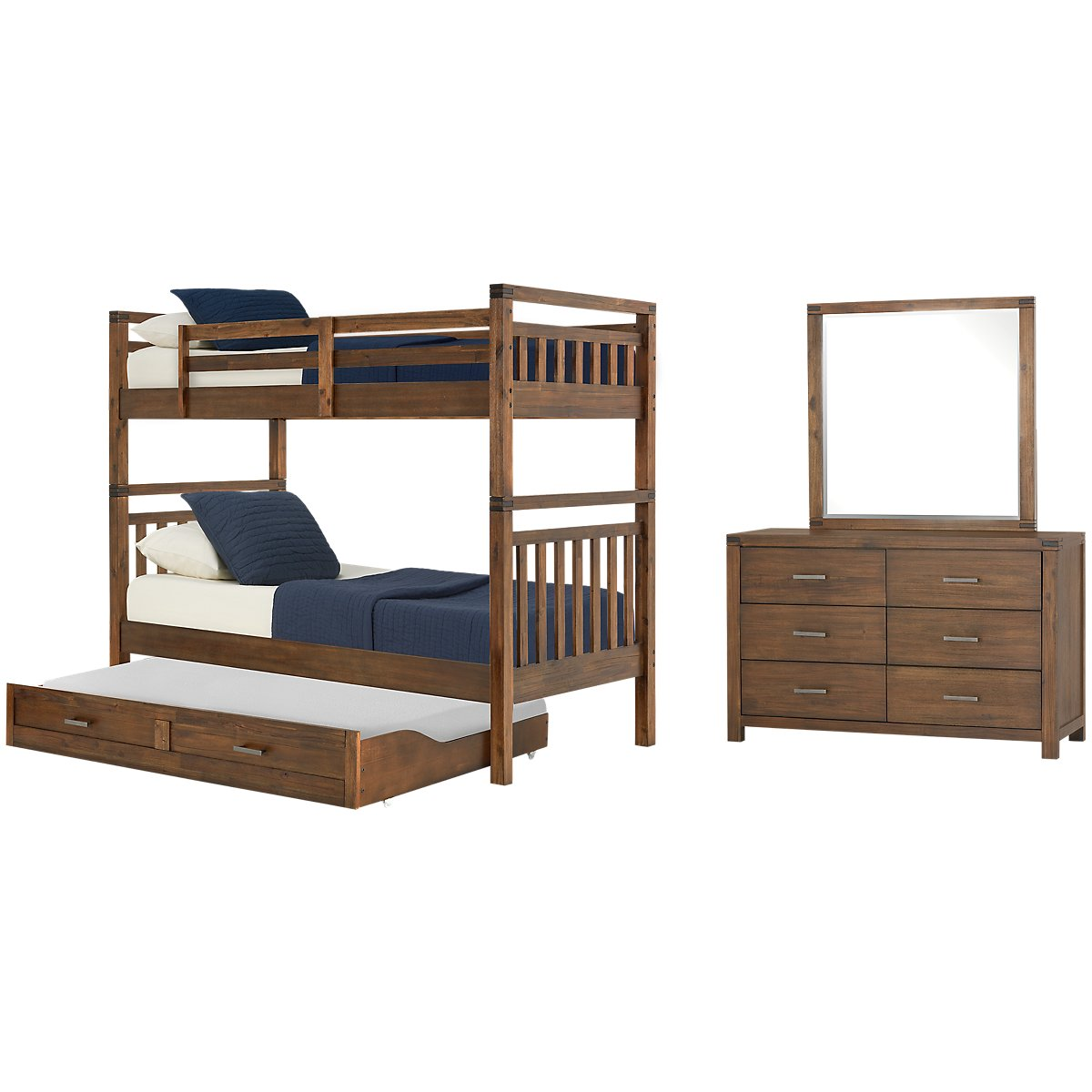 Jake Dark Tone Bunk Bed Trundle Bedroom