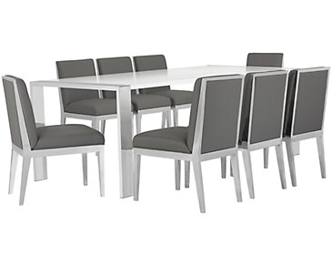 Neo Gray Rectangular Table & 4 Metal Chairs