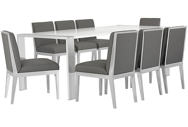 Neo Gray Rect Table & 4 Metal Chairs