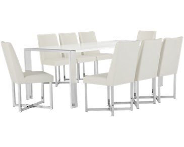 Neo White Rectangular Table & 4 Upholstered Chairs
