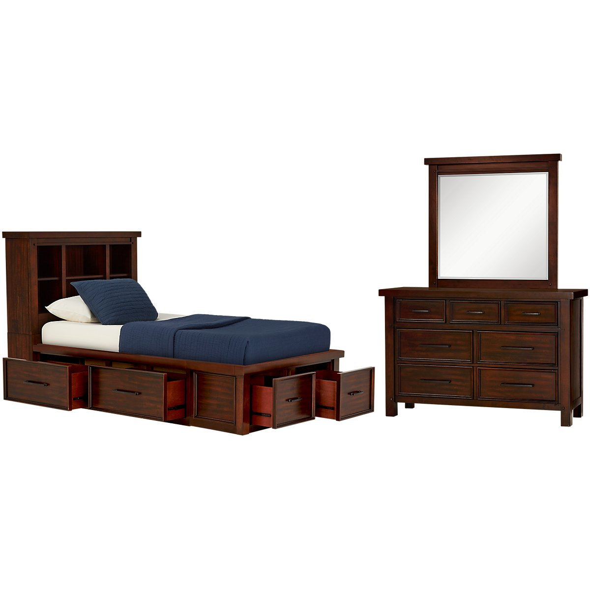 Napa Dark Tone Four-Drawer Bookcase Storage Bedroom