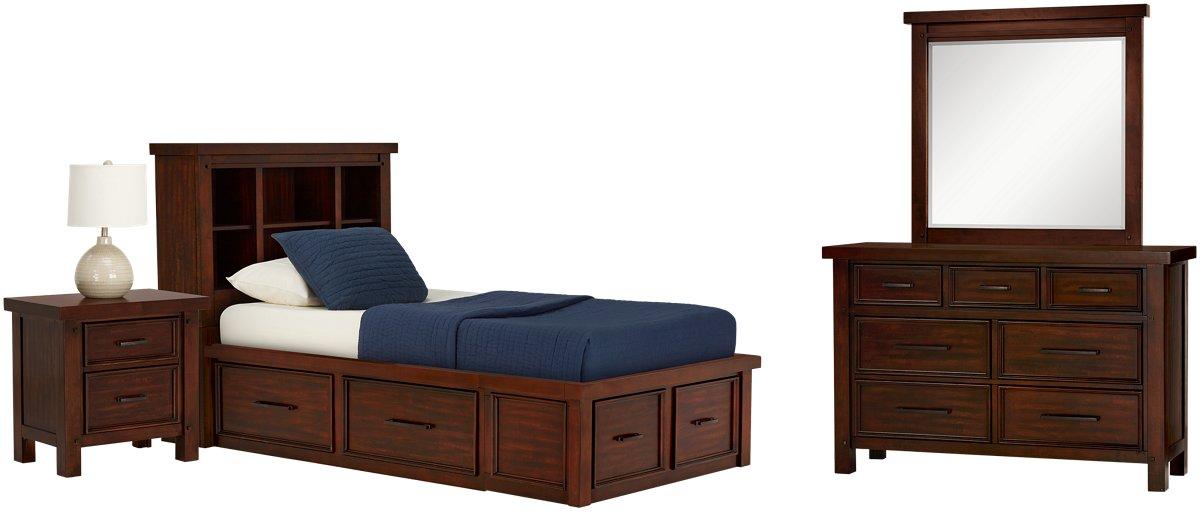 Napa Dark Tone 4-drawer Bookcase Storage Bedroom