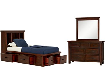Napa Dark Tone Six-Drawer Bookcase Storage Bedroom