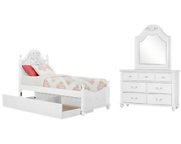Alana White Upholstered Poster Trundle Bedroom
