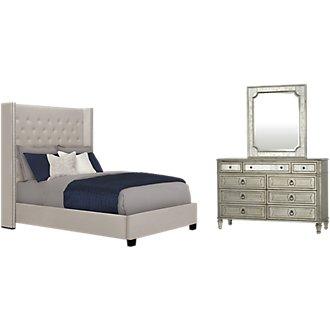 Sloane Light Beige Upholstered Shelter Bedroom