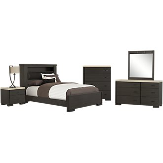 Motivo Gray Upholstered Bookcase Bedroom Package