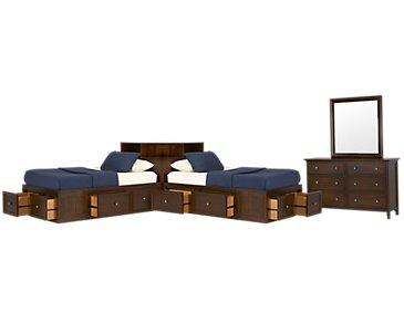 Spencer Mid Tone Corner Platform Storage Bedroom