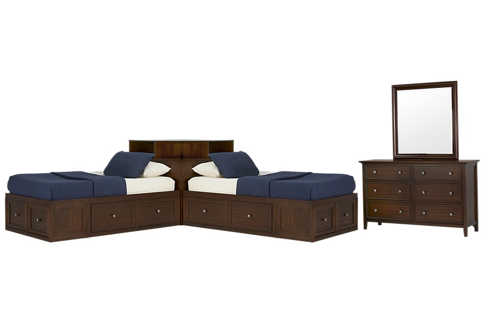 Spencer MID TONE  Corner Platform Storage Bedroom