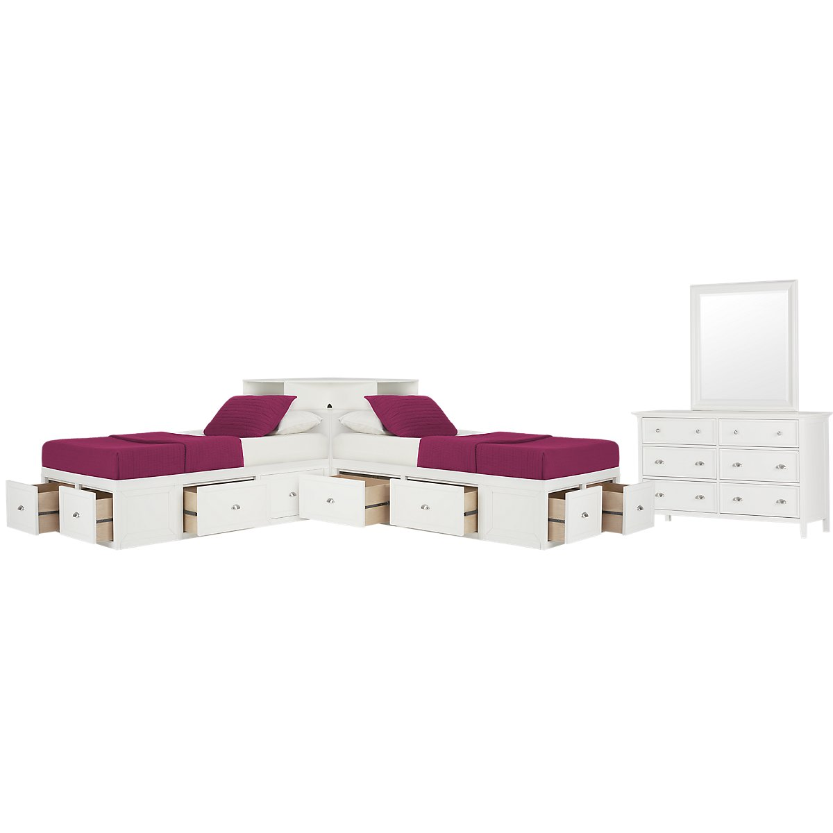 Spencer White Corner Platform Storage Bedroom