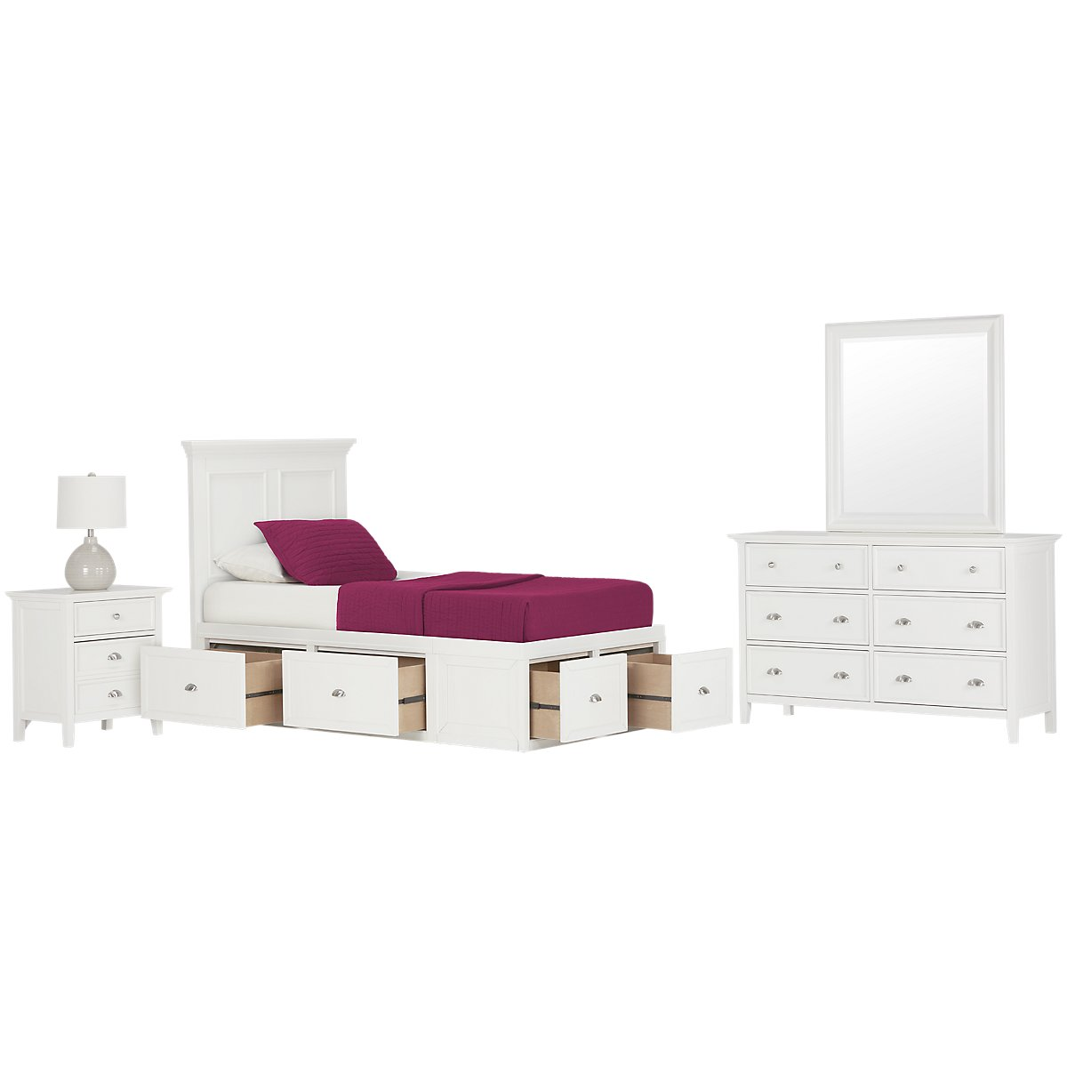 City furniture spencer white four drawer platform storage for White bedroom set with storage