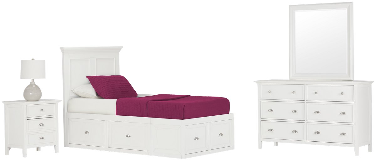 Spencer White 4-drawer Platform Storage Bedroom