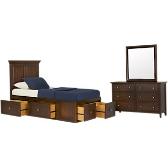 Spencer Mid Tone Four-Drawer Platform Storage Bedroom