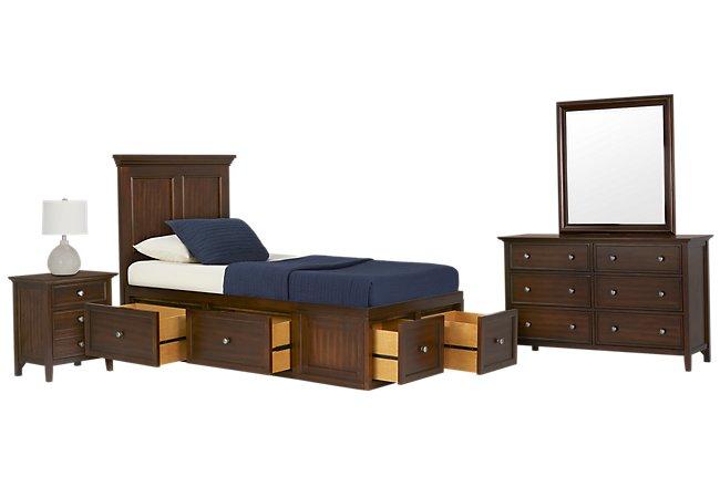 Spencer Mid Tone 4-drawer Platform Storage Bedroom