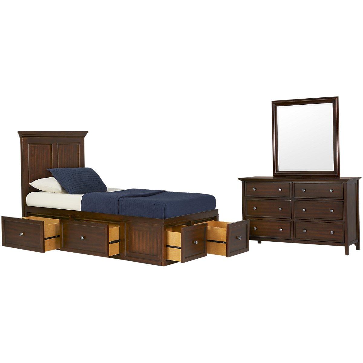 Spencer Mid Tone Six-Drawer Platform Storage Bedroom