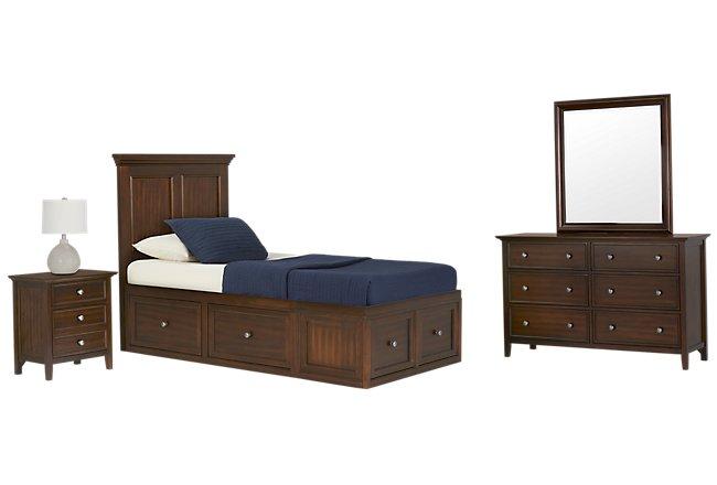 Spencer Mid Tone 6-drawer Platform Storage Bedroom