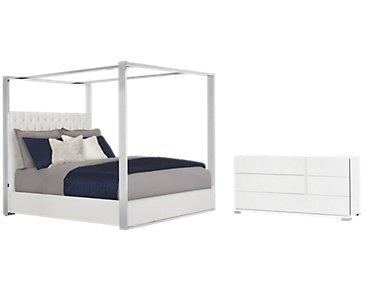 Neo White Upholstered Canopy Bedroom