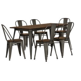 Harlow Dark Tone Wood Table 4 Chairs