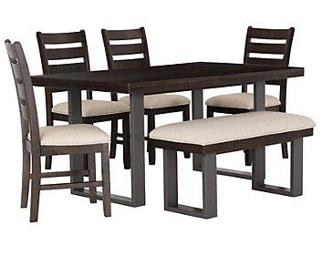 Sawyer Dark Tone Rectangular Table, 4 Chairs & Bench