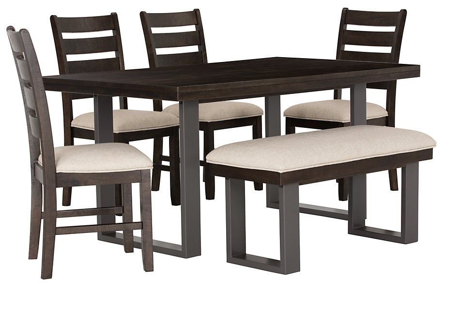 Awesome Sawyer Dark Tone Rect Table 4 Chairs Bench Dining Room Bralicious Painted Fabric Chair Ideas Braliciousco