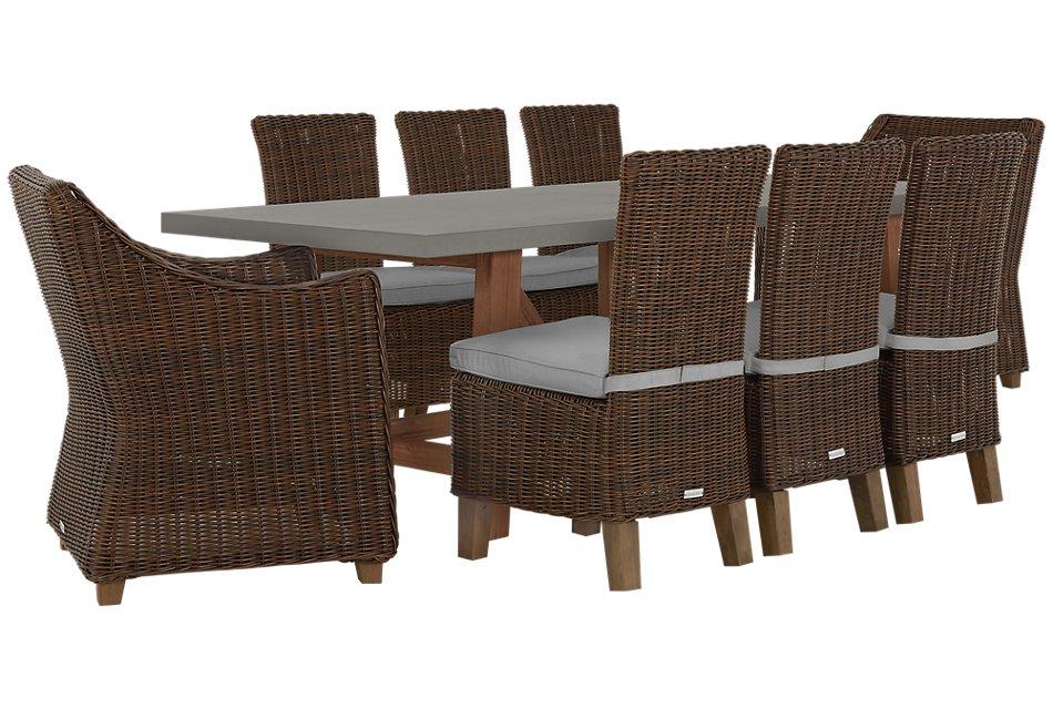Canyon Dark Brown Gray Concrete Rectangular Table & 4 Chairs