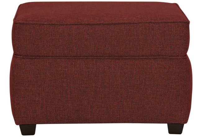 Asheville Red Fabric Ottoman