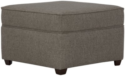Asheville Brown Fabric Ottoman