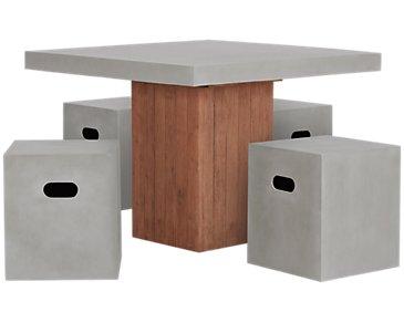 Sydney Concrete Square Table & 4 Chairs