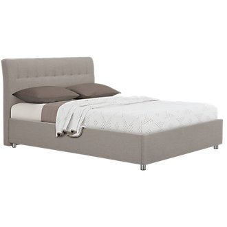 Everly Light Gray Upholstered Platform Bed