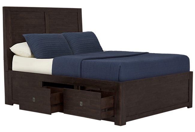 Kona Grove Dark Tone Wood Platform Storage Bed