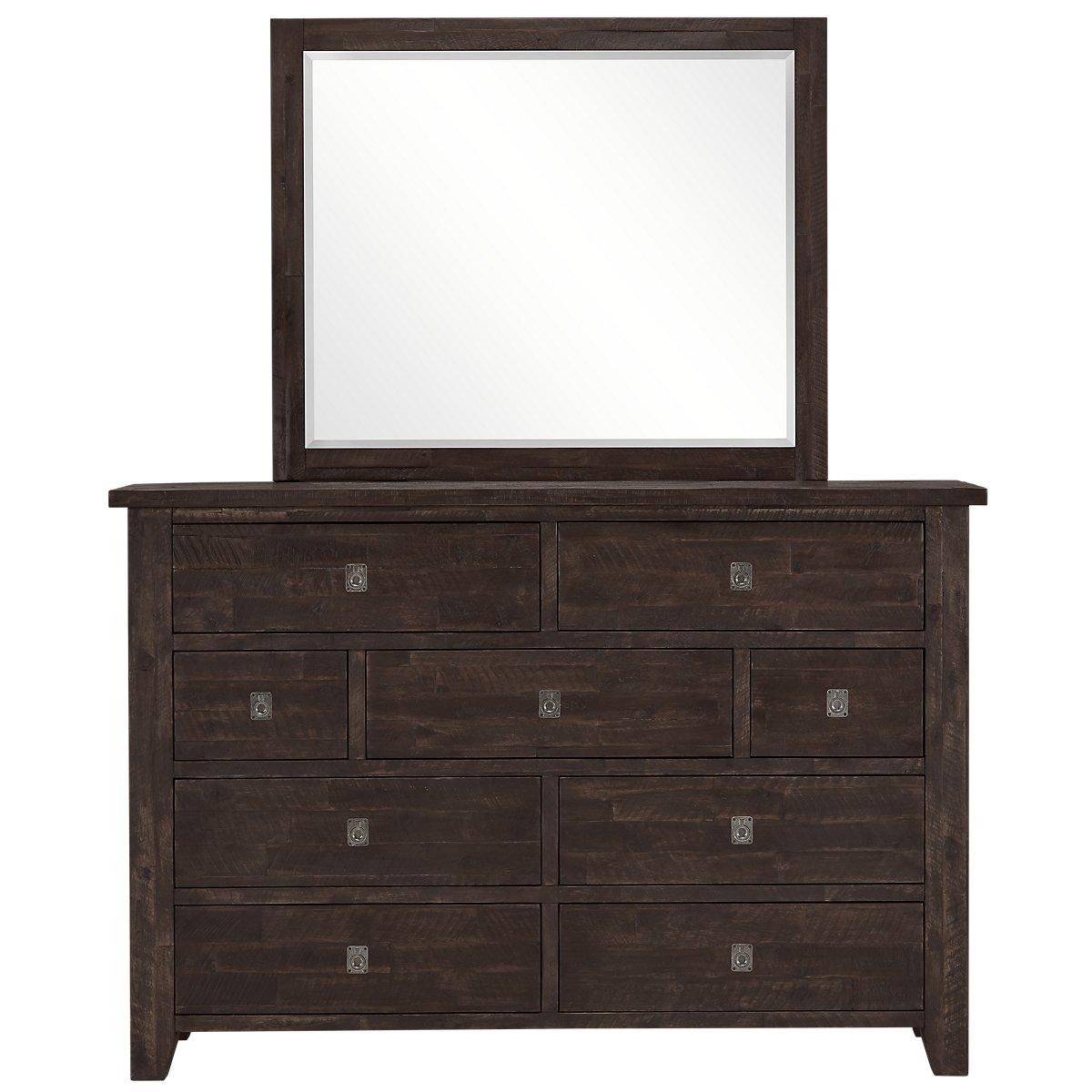 Kona Grove Dark Tone Wood Dresser & Mirror