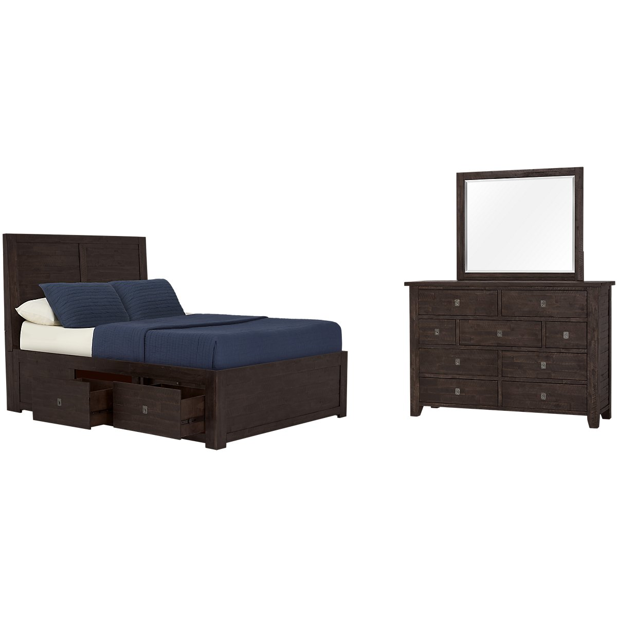 Kona Grove Dark Tone Platform Storage Bedroom
