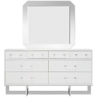 Cortina White Dresser & Mirror