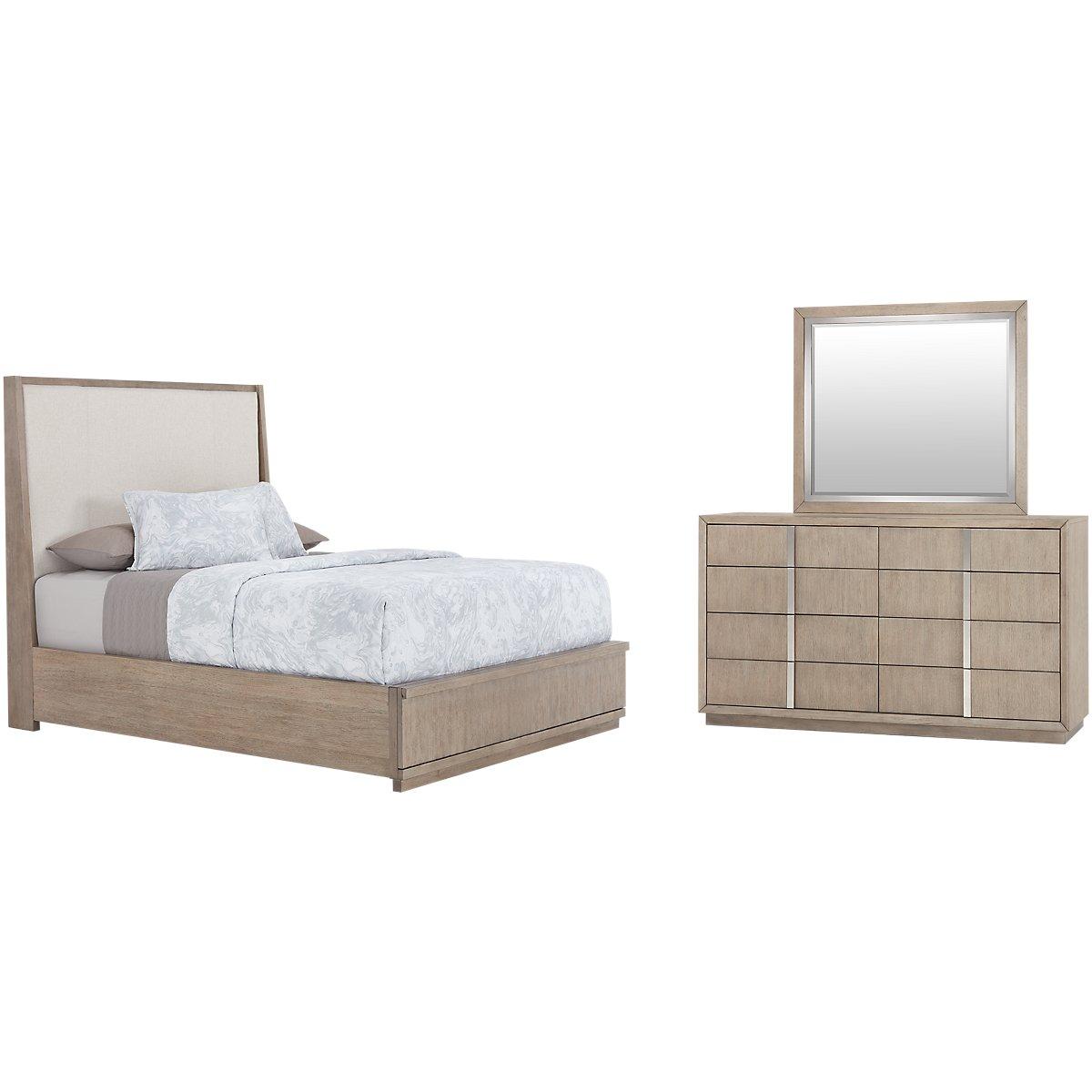 City Furniture Gramercy Light Tone Upholstered Platform Bedroom