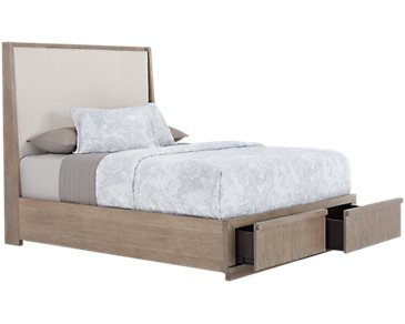 Gramercy Light Tone Upholstered Platform Storage Bed