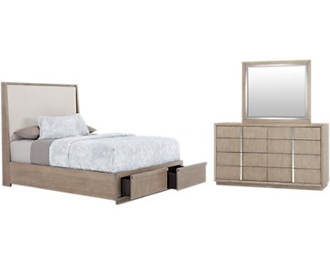 Gramercy Light Tone Upholstered Platform Storage Bedroom