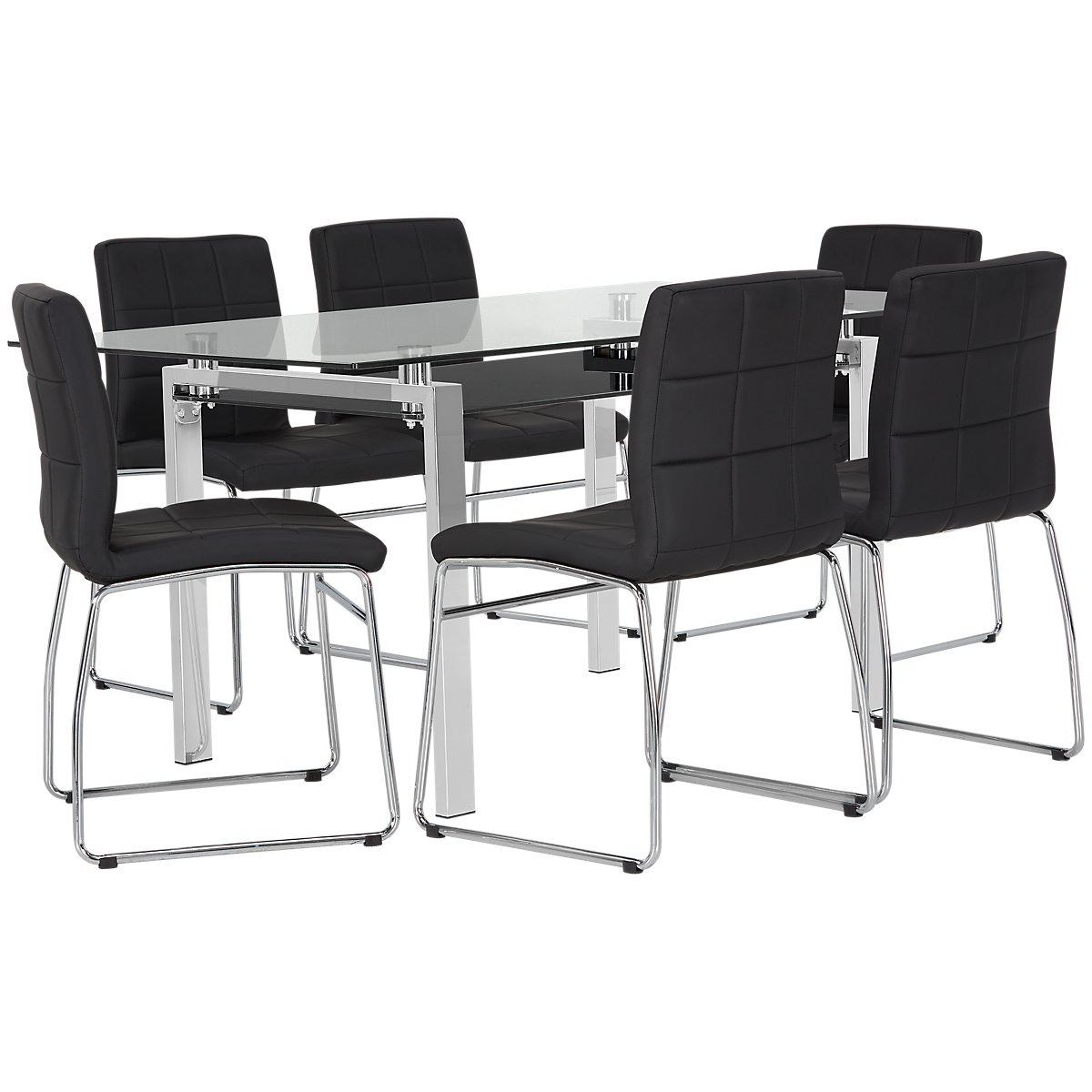 "Caleb Black 60"" Table & 4 Upholstered Chairs"
